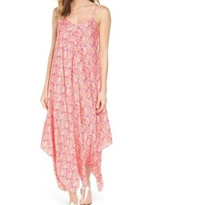 Seashell Print Handkerchief Hem Maxi Dress
